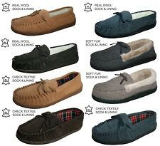 MENS MOCCASSIN BEDROOM SLIPPERS SUEDE LEATHER & HERRINGBONE SELECTION SIZE 7-12