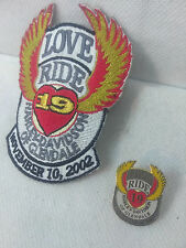 Harley Davidson Glendale California 2002 19th Love Ride Pin & Patch Jacket Vest