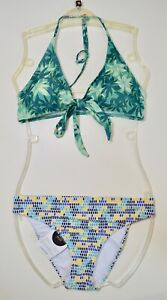 Ex Catalog Green Print Bikini Set Halterneck Halter Swimming Costume Size 14 -16