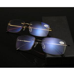 Progressive Reading Glasses Rimless Eyeglasses Anti Blue Light Reader +1.0~+3.0