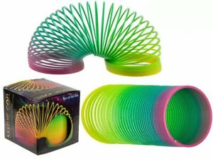 2X Rainbow Colour Spring Coil Slinky Fun Kids Toy Stretchy Bouncing Magic Toy UK