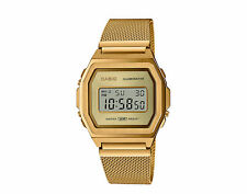 Casio Vintage A1000 Digital Stainless Steel Mesh Gold Watch A1000MG-9VT