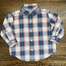 Janie and Jack Baby Boy Button Up Long Sleeves Blue Plaid Shirt Size 12-18M