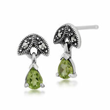 Sterling Silver 0.27ct Peridot & Marcasite August Stud Earrings