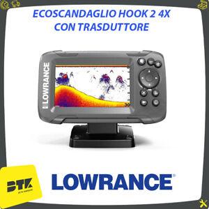 Ecoscandaglio LOWRANCE HOOK 2 4X con trasduttore GPS PESCA NAUTICA GOMMONE BARCA