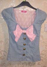 MA*RS Light Pink X Blue Lace Top With Ribbon - Hime Gyaru, Lolita