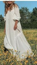 Bnwt h&m Weiß Lang Baumwolle Maxi Kaftan Kleid XS Ausverkauft Blogger Boho