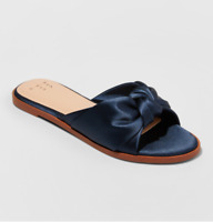 A New Day Women's Stacia Knotted Design Satin Slide Sandals, Navy