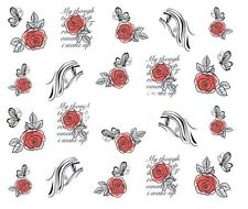 Nail Art Decals Transfers Stickers Valentines Red Roses (A-333)