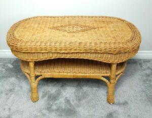 Vintage Rattan Wicker Bamboo Coffee Table Tiki Boho Retro Oval with Shelf