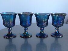 Set of 4 Indiana Blue Carnival Glass Goblets - Harvest Grape Pattern