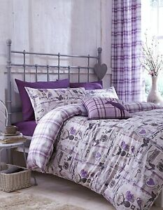 STAG COLLECTABLES HEATHER TARTAN REVERSIBLE SINGLE DUVET SET CATHERINE LANSFIELD