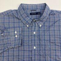 Nautica Button Up Shirt Men's Size 4XL XXXXL Long Sleeve Blue Plaid Cotton