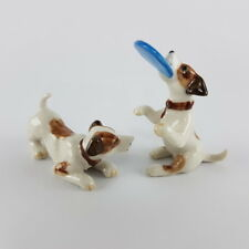 2 Jack Russell Terrier dogs animals ceramic figurine playing collectibles