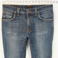 Mens Nudie SLIM JIM Stretch Slim Straight Jeans bleu W33 L34