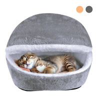 Cat Cave Beds for Indoor Cats Cozy House Wool Pet Dog Igloo Nest Kennel Grey