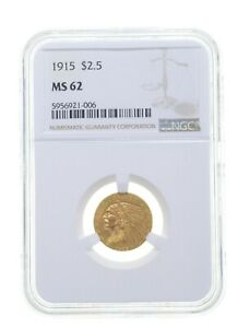 MS62 1915 $2.50 Indian Head Gold Quarter Eagle - Graded NGC *4097