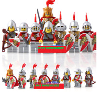 8 Pcs Minifigures lego MOC Medieval Castle Kingdoms Red Lion Knights King Solide