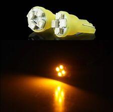 2X LUCI DI POSIZIONE LED GIALLE XENON T10 4 SMD lampadina auto 12V W5W fari moto