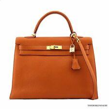 AUTHENTIC HERMES Orange Potiron Sellier Togo Kelly Bag 32cm w/ Gold Hardware
