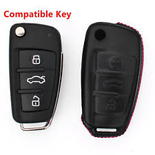 For Audi Key Cover Genuine Leather Hot Holster Folding Car Remote Fob Case Shell