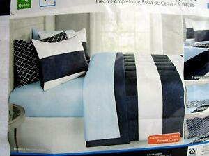 QUEEN SIZE..COMFORTER..9 PIECE..NAVY BLUE & WHITE..BEDDING SET..NEW