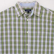 BOGARI Green White Plaid Short Sleeve Button Shirt Men's Large