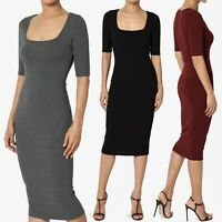 TheMogan Square Neck Elbow Short Sleeve Rib Knit Fitted Bodycon Midi Dress