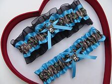NEW Mossy Oak Camouflage Camo Turquoise Black Wedding Garter* Prom Hunting Deer