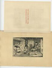 ANTIQUE CALEB BOY COOKING ROASTING SPIT BLACK KETTLE FIREPLACE ETCHING OLD PRINT
