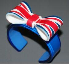 BRACELET LONDRES UK UNION JACK FLOT PAPILLON PLASTIQUE Neuf