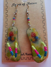 mushrooms colorful green red blue yellow Spirit of Nature Earrings flip flops