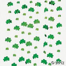 12 Metallic Shamrocks St Patricks Day Strings 7ft long GREEN BLARNEY PARTY DECOR