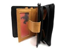 LADIES DESIGNER BLACK TAN PREMIUM SOFT GENUINE LEATHER PURSE CREDIT CARD HOLDER