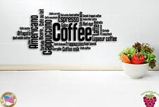Wall Sticker Coffee Cappuccino Americano Words Quotes for Kitchen z1348