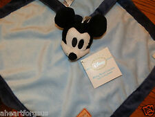 SECURITY BLANKET NEW DISNEY MICKEY MOUSE BLUE WHITE BLACK NAVY EDGE NO RATTLE