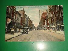 ZT964 RARE Vintage Postcard Street Trolley Market Street Wheeling W. Virginia