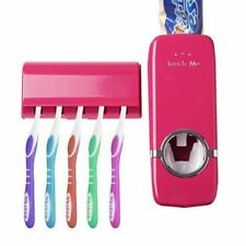 Auto Automatic Toothpaste Dispenser 5 Toothbrush Holder Set Wall Mount Stand Red