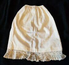 Vintage Cotton Long Doll Half Slip Skirt Petticoat Lace Trim Bottom