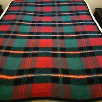 Biederlack Plaid Blanket Throw Reversible 55 X 72 Red Green Yellow Black Vintage
