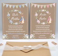 Personalised Peter Rabbit Will You Be My Godmother Godfather Godparents Card