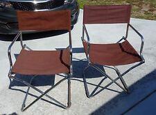 Mid century modern folding chrome captains style chairs pair