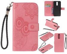 Ranura para tarjeta a presión Soporte de Cuero estilo Billetera Magnética + Cubierta para Estuche de TPU para Huawei P20 Lite