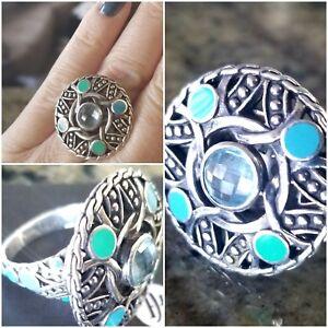 Fabulous John Hardy Enamel Blue Topaz Ring SO Pretty!