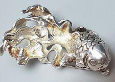 Massiv gearbeitete 925 Silber Brosche FISCH 80er Jahre Hersteller Punze /A85