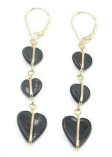 Onyx Black Heart Hanging Earrings set in 14K Yellow Gold,Leverbacks