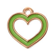 "6 PCs Charm Pendants Heart Rose Gold Enamel Green 14mmx13mm( 4/8""x4/8"") LC4904"