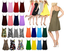 New Womens Sleeveless Cami Plain Strappy Swing Vest Camisole Dress Top 8-26