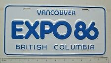 """EXCELLENT """"EXPO 86"""" Vancouver British Columbia Booster (Vanity) License Plate"""