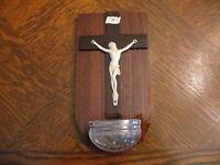 über 50 Jahre alter Weihwasserkessel Weihwasserbehälter Jesus am Kreuz Holz